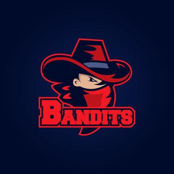 Modern professional logo for sport team. Bandit mascot. Bandits, vector symbol on a dark background.