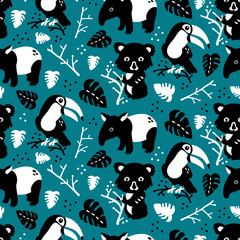 Vector seamless background pattern with scandinavian rainforest animals for baby shower, textile design
