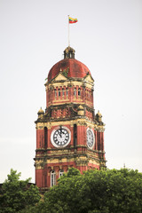 Clock tower near Yangon Region Court next to sule Pagoda