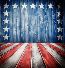 Close Up of American flag on grunge wooden boards