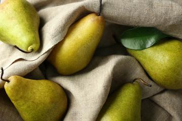 Delicious ripe pears, closeup
