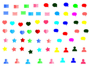colour web icon set vector illustration heart mail star message pop up box  on white background