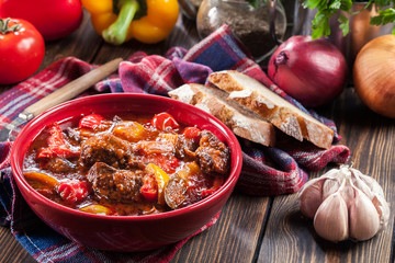 Traditional Hungarian beef goulash