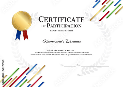 certificate template in sport theme with border frame diploma