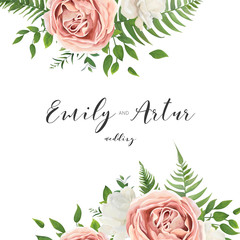 Wedding vector invitation, floral invite card with watercolor style blush pink garden roses, white peony flowers, green eucalyptus, tree leaves, greenery, herbs frame, border. Romantic template design