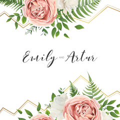 Wedding floral invite, invtation, save the date card design. Watercolor blush pink roses, cute white garden peony flowers, green leaves, greenery fern, golden geometrical decoration. Romantic template