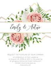 Wedding floral invite, invtation card design. Watercolor style blush pink roses, white garden peony flowers, green leaves, greenery fern & golden geometrical border. Vector art elegant classy template