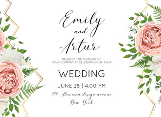 Wedding floral invite, invtation, save the date card design with watercolor pink roses, white garden peony flowers, green leaves, forest greenery & luxury golden geometrical decoration. Classy layout