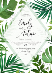 Wedding floral watercolor invite, invitation, save the date card design with palm tree tropical branches with greenery leaves & green forest plants transparent decoration. Vector cute elegant template
