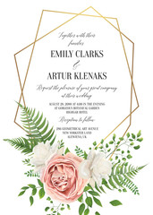 Wedding floral invite, invtation card design. Watercolor style blush pink rose, white garden peony flowers, green leaves, greenery fern & golden geometrical border. Vector art elegant, classy template