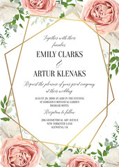 Wedding floral invite, invtation card design. Watercolor blush pink rose, white garden peony flowers, green leaves, greenery fern & golden geometrical transparent frame. Vector, elegant, classy layout