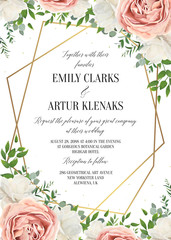 Wedding floral invite, invtation card design. Watercolor blush pink rose, white garden peony flowers blossom, green leaves, greenery plants & golden geometrical frame. Vector romantic, modern template