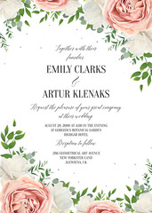 Wedding floral invite, invtation, save the date card design. Watercolor blush pink rose flowers, white garden peonies, green leaves, greenery plants, tender polka dot pattern. Vector romantic template