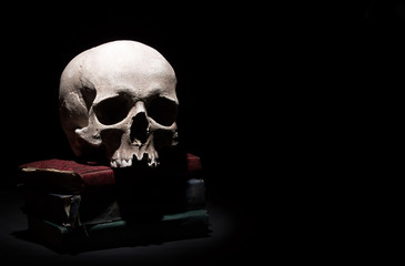 Human skull on old books on black background under beam of light. Dramatic concept.