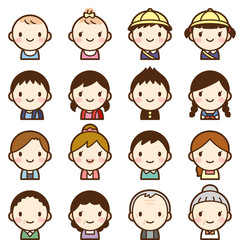 Isolated set of people all generation family man & woman avatar expressions