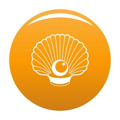 Shell with pearl icon. Simple illustration of shell with pearl vector icon for any design orange