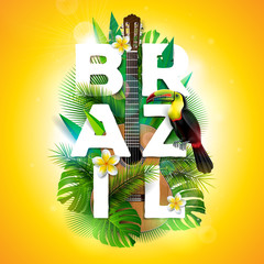 Vector Brazil typography illustration with toucan bird, acoustic guitar and flower on tropical plants background. Design template with green palm leaf for banner, flyer, invitation, brochure, poster