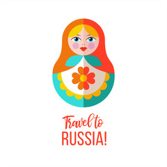 Travel to Russia. Traditional Russian symbols. Vector illustration.