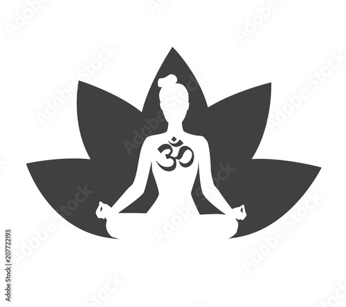 Vector Black And White Illustration With Silhouette Of Meditating
