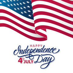USA Independence Day greeting card with waving american national flag and hand lettering text Happy Independence Day. 4th of July vector illustration.