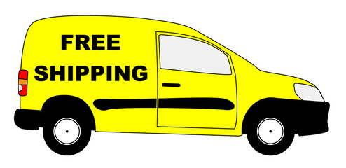 Small Delivery Van With Free Shipping Text