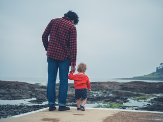 Father and small son on pier by the sea
