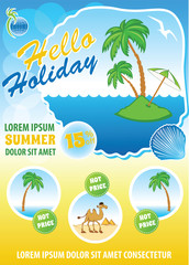 Sea travel template, touristic agency flyer, summer exotic holiday concept, vector advert banner