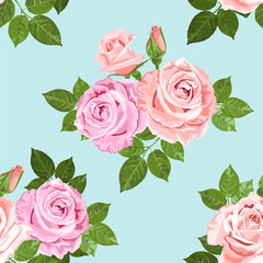 Pale pink and beige roses on the blue seamless pattern
