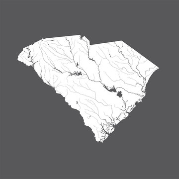 U.S. states - map of South Carolina. Rivers and lakes are shown. Please look at my other images of cartographic series - they are all very detailed and carefully drawn by hand WITH RIVERS AND LAKES.