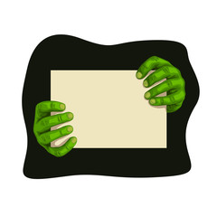 zombie hands with board