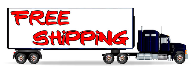 Truck Tractor Unit And Trailer With FREE SHIPPING Inscription