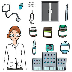 vector set of hospital, hospital equipment and medical staff