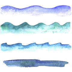 Watercolor collection of waves.