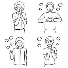 vector set of men falling in love