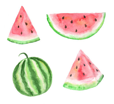 Hand drawn collection of watermelons. Set of watercolor fruit elements.