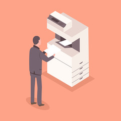 Man in suit with a paper near an office printer. Vector 3D flat isometric business staff illustration.