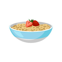 Ceramic bowl with ring flakes and two ripe strawberries on top. Tasty and sweet breakfast. Flat vector for product packaging or menu