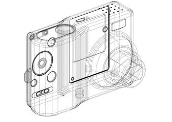 Digital Camera Architect blueprint - isolated