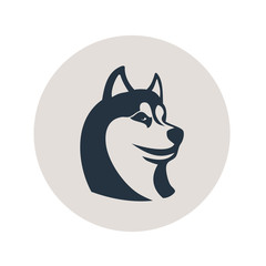 Icono plano cabeza de husky en circulo gris