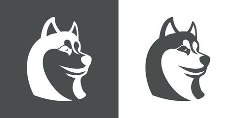 Icono plano cabeza de husky en gris y blanco