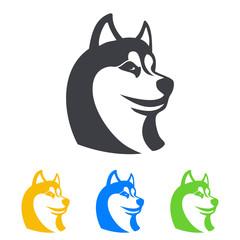 Icono plano cabeza de husky en varios colores
