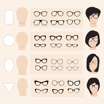 A set of vector glasses for different faces