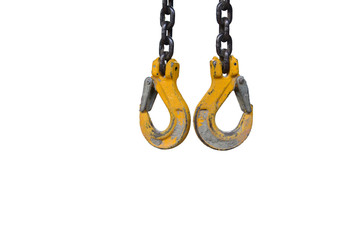 Hooks of a two-chain chain sling, isolated.