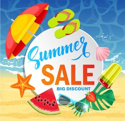 Summer sale vector banner design for promotion with colorful beach elements behind white circle in sand and sea background. Vector illustration.