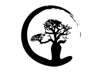 Boab or Baobab Tree Vector isolated, tree silhouette logo concept icon