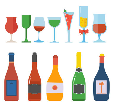 Alcohol bottles and glasses full of liquid. Celebration goblets, cocktails and alco drinks in flat design. Red wine bottle and glass set.