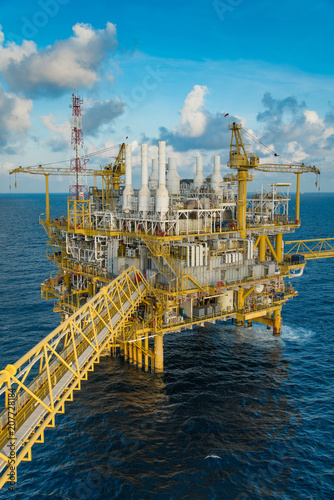 Offshore oil and Gas construction platform where produced gases and