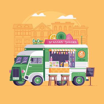 City street food vegan van in flat design. Pressed juice truck. Summer auto juice bar kiosk in flat design. Festival car with vegetarian food on wheels. Vintage cartoon minivan with fruit drinks.