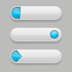 Web buttons. White icons with blue tags