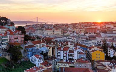 Wall Mural - Lisbon historic city at sunset, Portugal